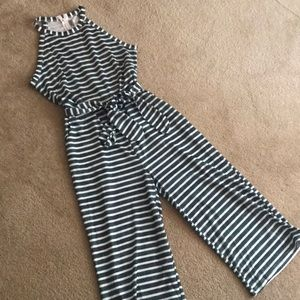Green and White Striped jumpsuit